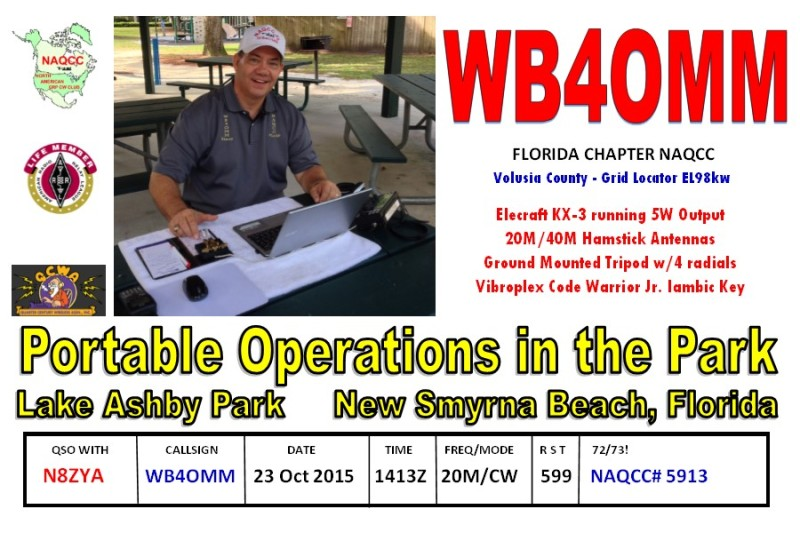 Lake Ashby Park Oct 15 QSL FRONT N8ZYA