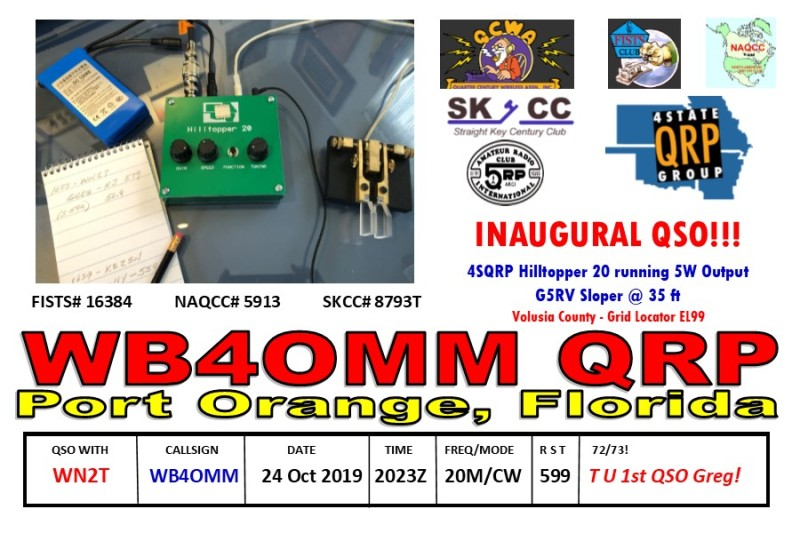 QSL Card Hilltopper 20 Inaugural Front WN2T