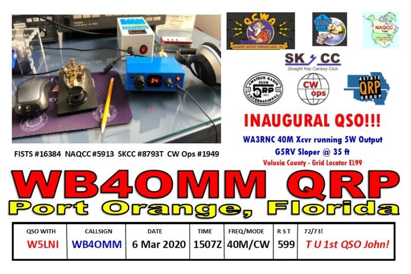 QSL Card WA3RNC 40 Inaugural Front N5LNI